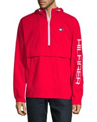 Tommy Hilfiger Logo Graphic Popover Jacket - Red
