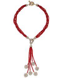 Heidi Daus Itsy Bitsy Hearts Tassel Pendant Necklace - Multicolour