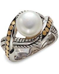 Effy Women's Sterling Silver, 18k Yellow Gold & Freshwater Pearl Ring - Size 7 - Metallic
