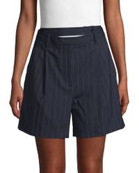 3.1 Phillip Lim Pinstripe Stretch Wool Shorts - Blue