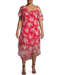 Vince Camuto Plus Floral Ruffle Dress - Red