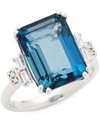 Effy 14k White Gold, London Blue Topaz & Diamond Ring/size 7
