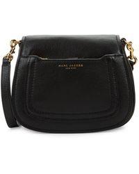 Marc Jacobs Pebbled Leather Mini Saddle Crossbody Bag - Black