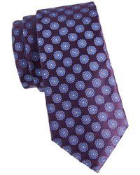 Canali Men's Floral Medallion Tie - Navy - Blue