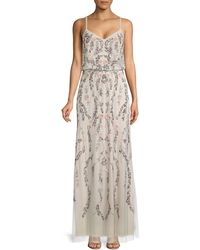Adrianna Papell Beaded Floral Blouson Gown - Multicolour