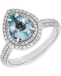 Saks Fifth Avenue 14k White Gold, Aquamarine & Diamond Engagement Ring/size 7 - Metallic