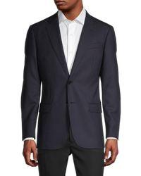 Armani Men's Virgin Wool Sportcoat - Solid Blue - Size 52 (42) R