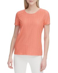 Calvin Klein Textured Short-sleeve Top - Pink