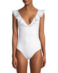 Mouillé Swimwear - Penelope One-piece Plunge Ruffle Swimsuit - Lyst