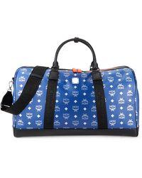 MCM Logo-print Leather Weekender Bag - Blue