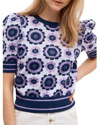 Kate Spade Geo Floral Cropped Sweater - Purple