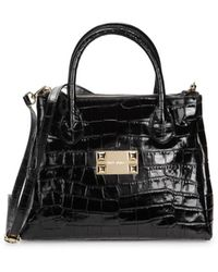 Valentino By Mario Valentino Ally Croc-embossed Leather Satchel - Black