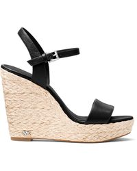 MICHAEL Michael Kors Jill Leather Wedge Sandals - Black