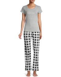 Calvin Klein 2-piece Cotton-blend Pyjama Set - Grey