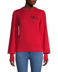 Maje Embellished Rib-knit Cotton-blend Jumper - Red