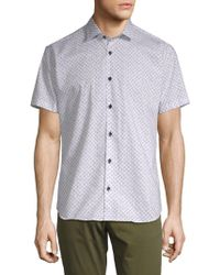 Jared Lang - Printed Short-sleeve Cotton Button-down Shirt - Lyst