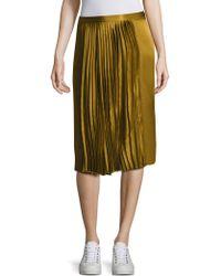 Public School Gamil Silk Pleated Skirt - Multicolour