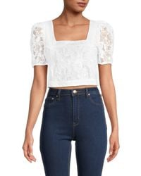French Connection Women's Baintana Lace Crop Top - Summer White - Size 0