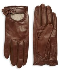 Portolano Women's Bow Leather Gloves - Cork - Size 6.5 - Brown
