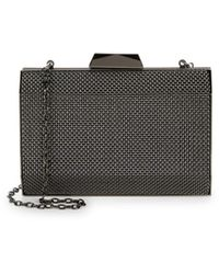 La Regale Women's Textured Pryamid Box Clutch - Gunmetal - Black