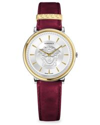 Versace Women's V-circle Medusa Stainless Steel & Leather Strap Watch - White