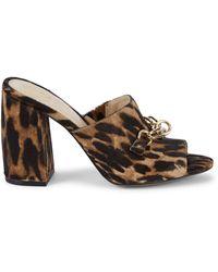 Vince Camuto Gessien Animal-print Calf Hair Mule Sandals - Natural