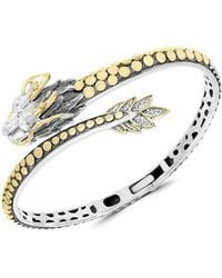 Effy 18k Yellow Gold, Sterling Silver, Tsavorite & Diamond Dragon Cuff Bracelet - Metallic