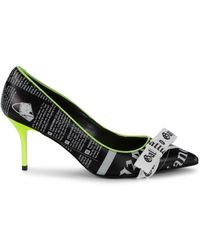 John Galliano Printed Bow Leather Court Shoes - Black