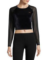 PUMA Women's Raglan-sleeve Cropped Velvet Top - Black - Size L