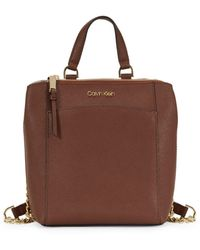Calvin Klein Hayden Top-zip Leather Backpack - Brown
