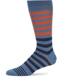 Saks Fifth Avenue Striped Crew Socks - Blue