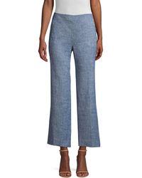 Elie Tahari Leena Cropped Melange Trousers - Blue