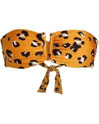 Red Carter Leopard-print V-notch Bandeau Bikini Top - Multicolor