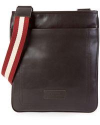 Bally Terino Stripe-strap Leather Crossbody Bag - Brown