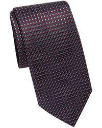 Brioni Geo Diamond Silk Tie - Purple