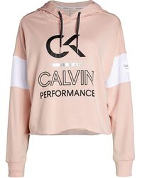 Calvin Klein Logo Colorblock Cropped Hoodie - White