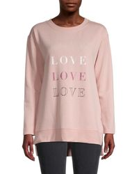 C&C California Women's Graphic High-low Fleece Sweatshirt - Misty Rose - Size M - Pink