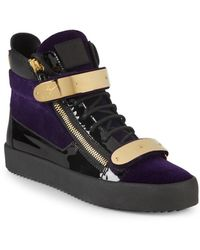 Giuseppe Zanotti Embroidered High-top Sneakers - Navy - Size 42 (9) - Blue