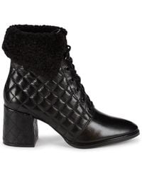 Karl Lagerfeld Cantyn Faux Fur & Quilted Leather Block-heel Booties - Black
