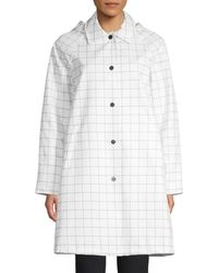 Jane Post Women's Mid-length Slicker Jacket - Red White - Size Xs