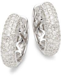 Effy - 14k White Gold & Diamond Hoop Earrings - Lyst