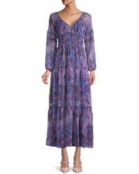 Betsey Johnson Dreamscape Print Crinkle Chiffon Dress - Purple