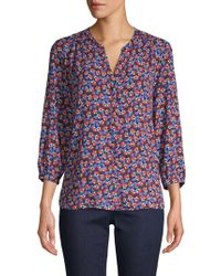 NYDJ - Floral Pintuck Blouse - Lyst
