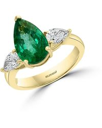 Effy 18k Yellow Gold, Natural Emerald & Diamond Ring - Multicolour