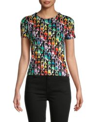 Alice + Olivia Women's Rylyn Rainbow Stace Face Cropped T-shirt - Rainbow - Size Xs - Black