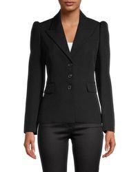 Michael Kors Women's Puff-shoulder Wool Blazer - Black - Size 2