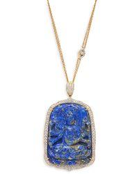 Sara Weinstock One Of A Kind 18k Yellow Gold, Lapis & Diamond Buddha Pendant Necklace - Multicolor