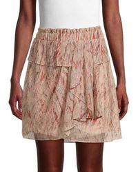 IRO Women's Joucas Ruffle Abstract Skirt - Black Fuchsia - Size 36 (4)
