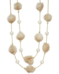 Natasha Couture - Tiered Mink Fur Pom-pom Necklace - Lyst