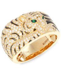 Effy 14k Yellow Gold, Emerald & Diamond Panther Ring/size 7 - Size 7 - Green